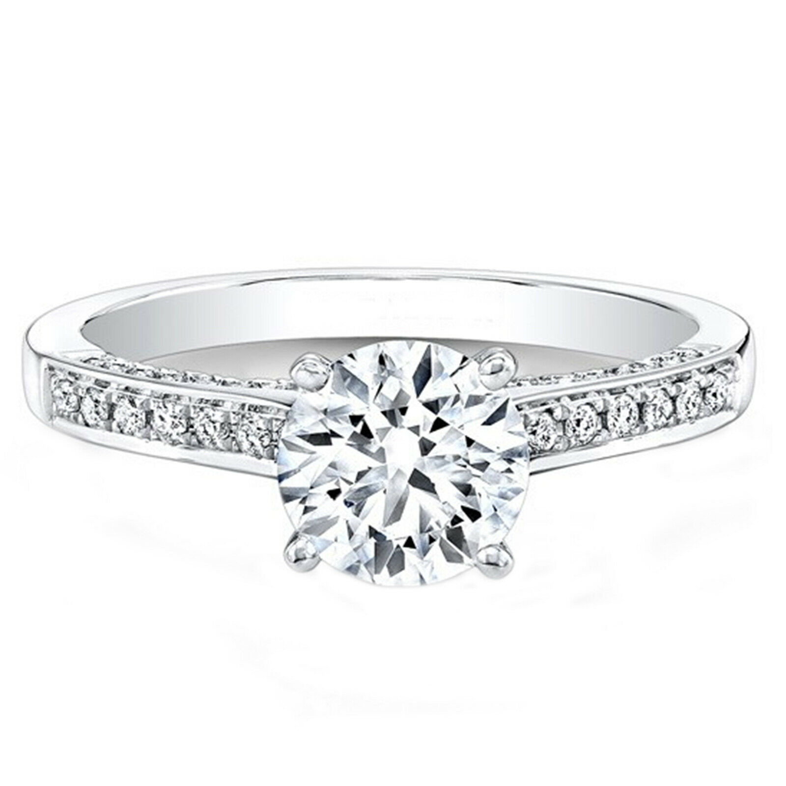 0.74 Carat Round Cut Diamond 14Kt Solid White gold Engagement Rings Size 5.5 6 7