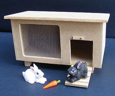 1:12 échelle en bois clapier avec deux lapins maison de poupées miniature pet accessory