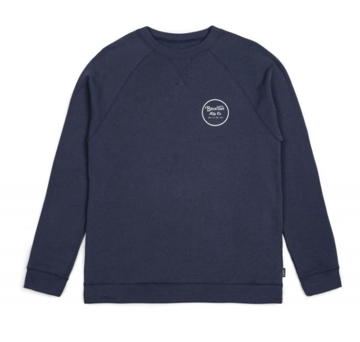 BRIXTON SUPPLY CO WHEELER FLEECE CREW INDIGO