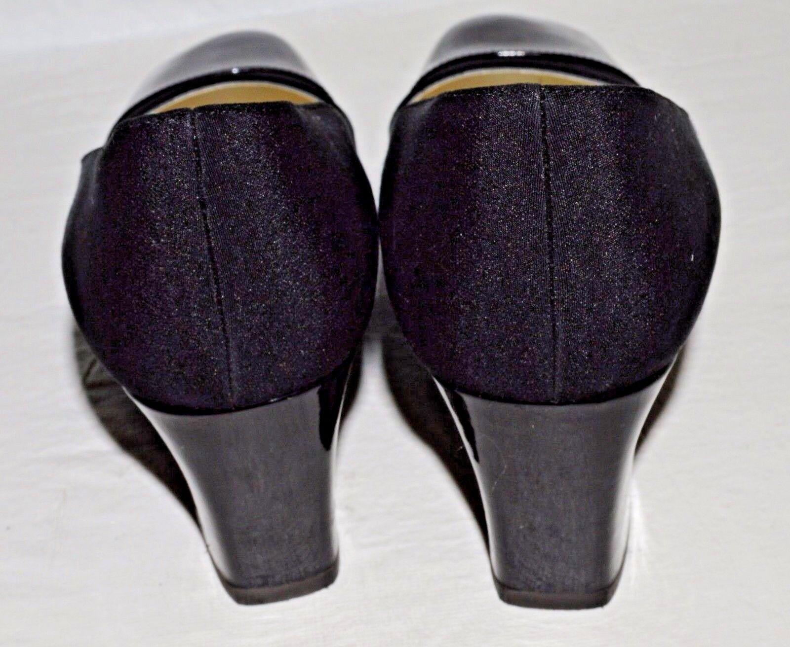 CASADEI NEW VINTAGE SZ LEATHER 7.5 M BLACK PATENT LEATHER SZ FABRIC PUMPS HEELS Schuhe ITALY 186586