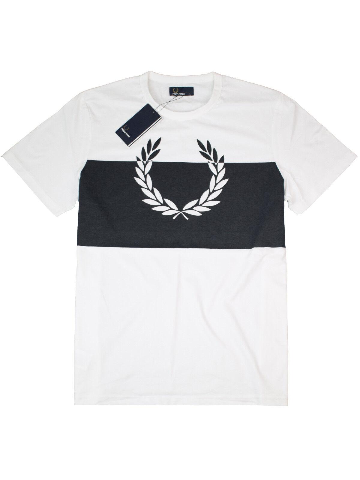FROT Perry T-Shirt Laurel Wreath Print M4546 100 Weiß / Navy Lorbeerkranz  7401