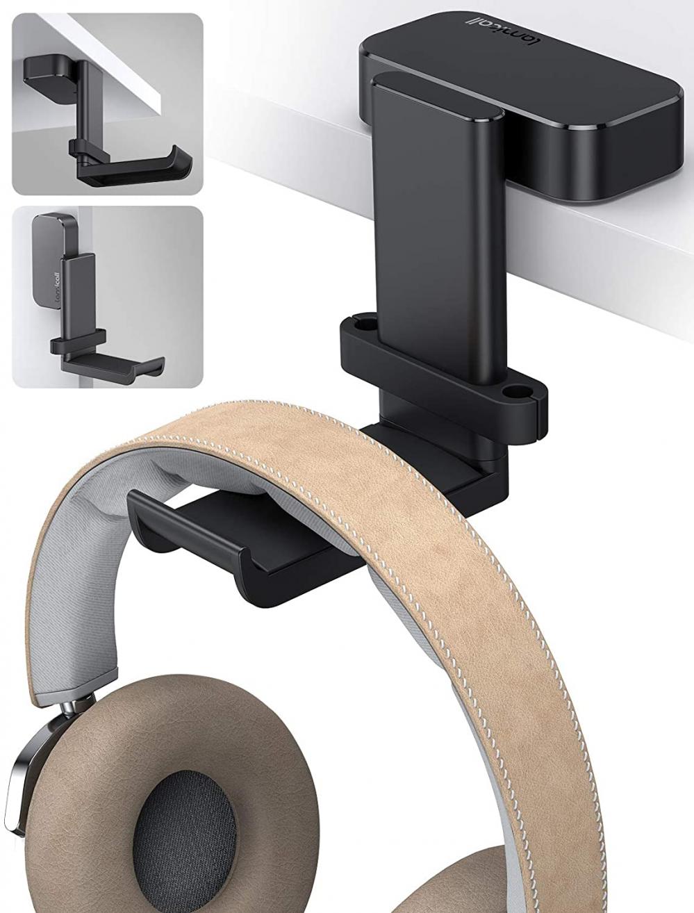 Lamicall Headphone Stand, Swivels Headset Hanger - Adjustable Desktop Black