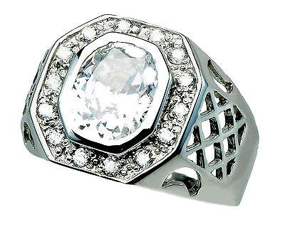 Mens Bezel Channel Set Cubic Zirconia .925 Sterling Silver Halo Ring 10 12  13