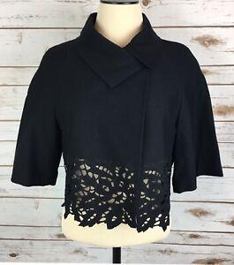 BCBG-MAX-AZRIA-Cropped-Dinner-Jacket-Womens-Sm-Asymmetrical-Black-Lace-1-Button
