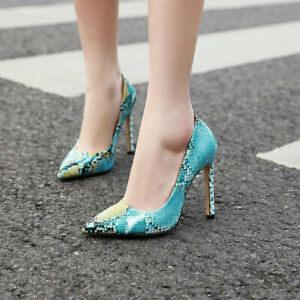 Womens-Snakeskin-Printed-Pointed-Toe-Pumps-High-Slim-Heels-Stilettos-Shoes-Size