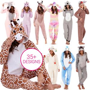 Ladies-Girls-1Onesie-All-In-One-Hooded-Cute-Animal-Fleece-Jumpsuit-Pyjama-Set