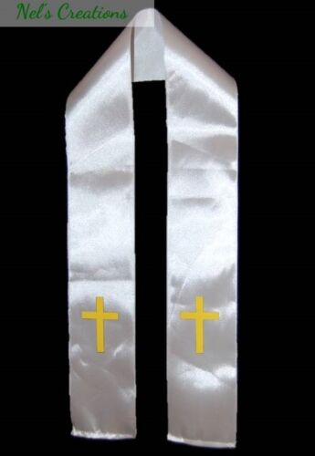Ribbon communion /& Baptism// Christening White sash// stole with applique cross