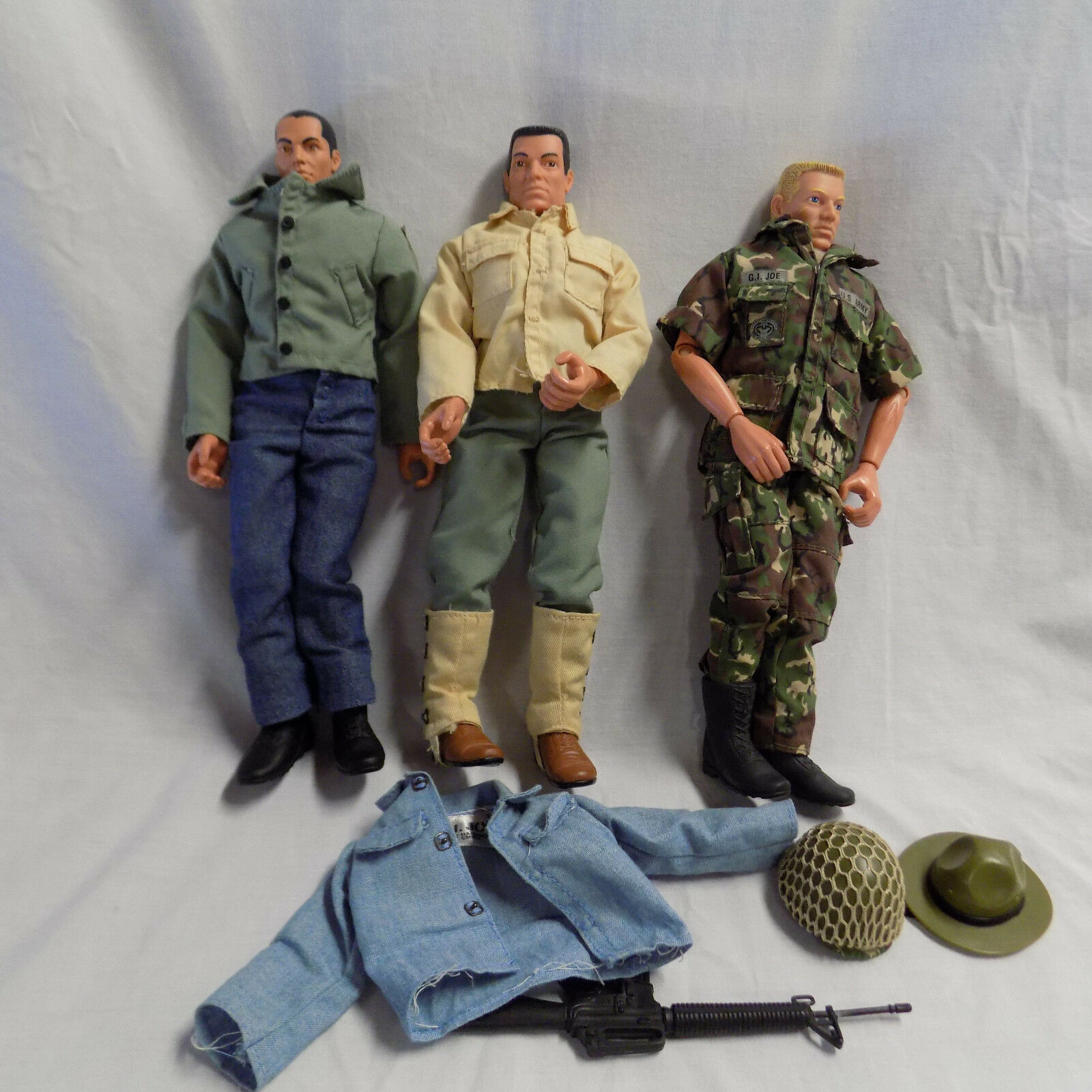 GI Joe Lot of 3 Military Action Figures 1990s Some Accessories