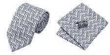 Black Gray Novelty 100% Silk Classic Mens Necktie Tie Hanky Cufflink Set NT225