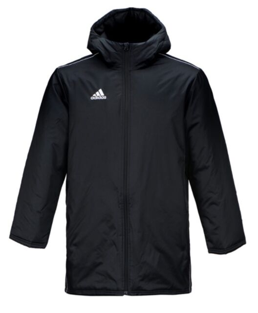 Adidas Men Core 18 Stadium Down Padded Jacket Winter Black GYM Parka Coat CE9057