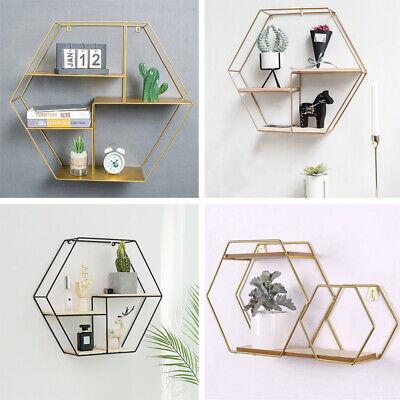 Hexagon Black Metal Wood Retro Display Multi Shelf Storage Wall Unit with Mirror