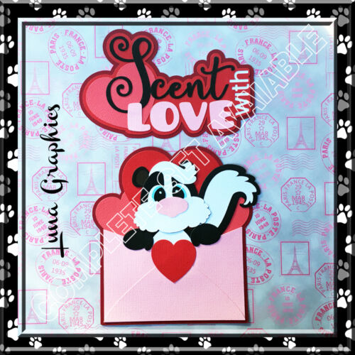 SCENT WITH LOVE SKUNK Embellishment  Paper Piecing card making and scrapbooking