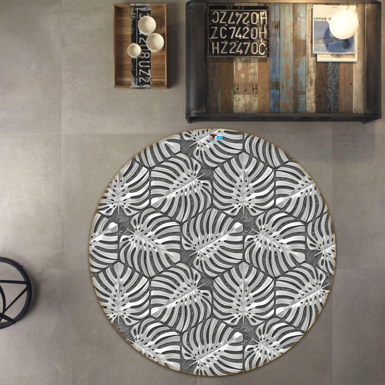 3d negro las hojas blancoas 4 antideslizante alfombra maletero rondas elegante alfombra