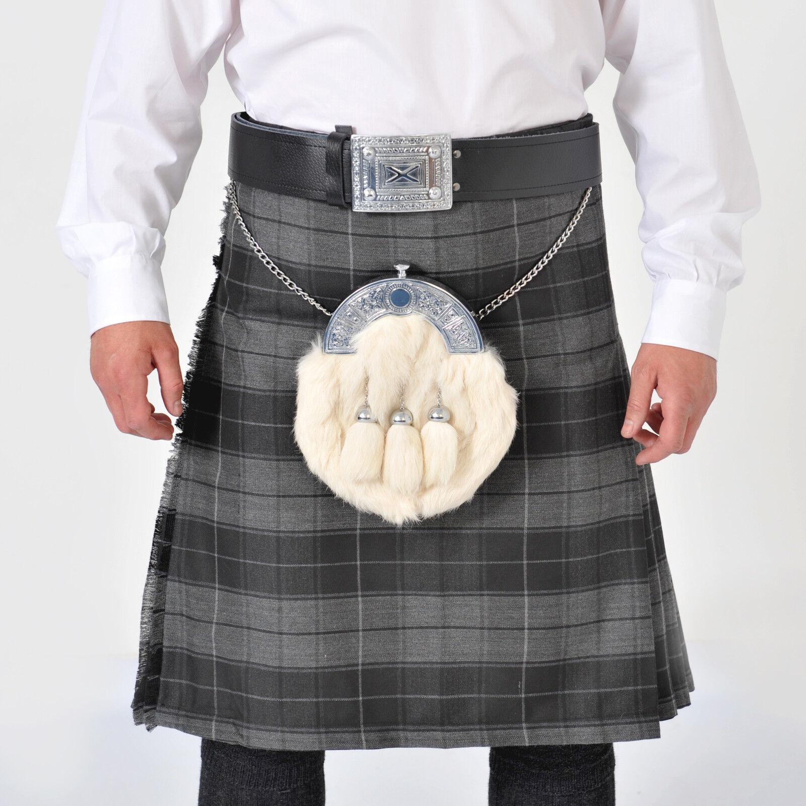 DELUX Chieftain Grey Highlander 8 Yard Polyviscoe KILT - BLACK BUCKLES -
