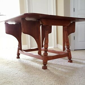 Details About Cushman Colonial Erfly Drop Leaf Solid Maple Table Rare Unique Great Color