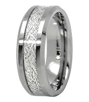Meteorite Ring Tungsten Carbide For Men 8mm Comfort Fit Wedding Band