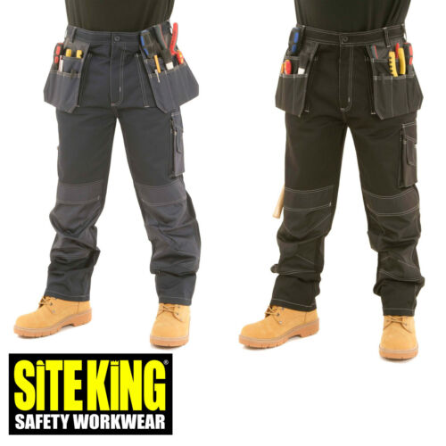 009 Mens Heavy Duty Contrast Cargo Holster Pocket Work Trousers By SITE KING