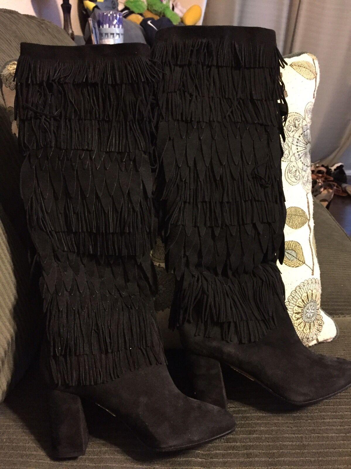 Nuevo aquazzura Italia Negro Suave Suave Suave Flecos De Alto botas Talla 6 Neiman Marcus  1495 difícil de encontrar  nueva marca
