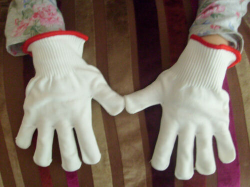 White fine handling nylon work gloves for small objects Magicians etc Size Small