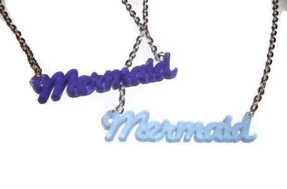 Mermaid Necklace Cute Frosted Word Pendant Choose Pink Blue or Purple Kawaii