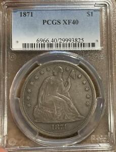 1871 Seated $1 Dollar ~ PCGS XF 40 Extra Fine