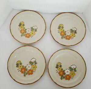 Vtg-Hearthside-Spring-Garden-4-Dinner-Plates-Floral-1970s-Japan-Stoneware