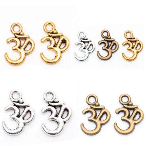 100PCS Tibetan Silver ohm om Yoga Sign Buddha Charm Pendants Findings16mm