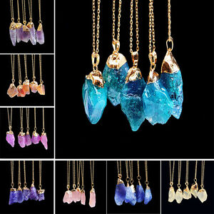 Quartz-Gold-Plated-Natural-Crystal-Chakra-Rock-Necklace-Pendant-Colorful-Stone