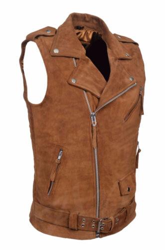 Men/'s Brando Tan Suede Motorcycle Biker Steam Punk Italian Leather Waistcoat