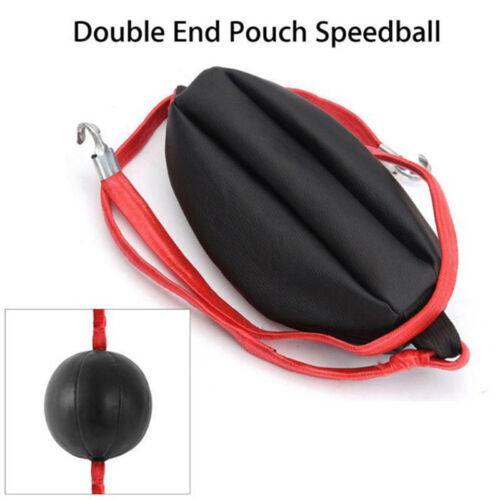 Double End Boxing Speed Ball Punching Bag Dodge Gym Training Black Pu Lea Hj
