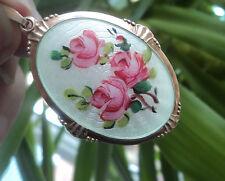 LARGE Norwegian Sterling Silver Floral Rose Enamel Pendant - Arne Nordlie Norway