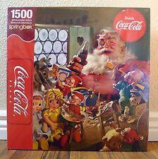 Springbok 1500 Piece Jigsaw Puzzle Christmas Coca Cola Santa Claus and Elves