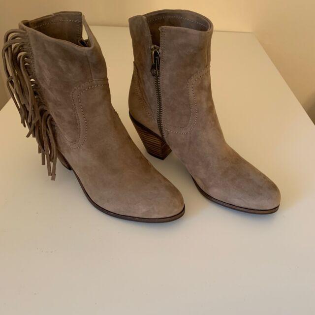 5510c7ab3e89 Sam Edelman Women s Louie Fringe-Trimmed Ankle Boot 9M TAN SUEDE Bootie