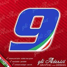 Adesivo Stickers NUMERO 9 moto auto cross gara Blu & Tricolore