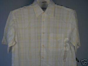 Geoffrey-Beene-Camp-Shirt-White-Yellow-Grey-M-Men-039-s-Clothing-New