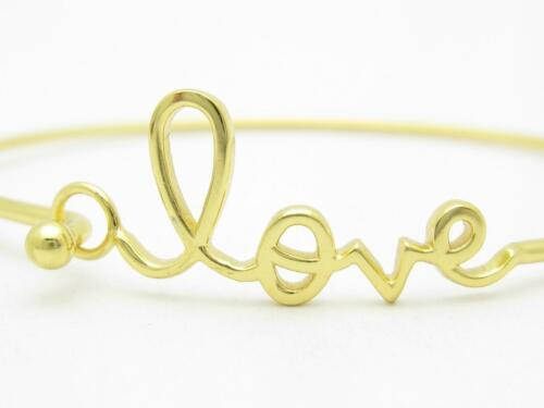 18k Yellow Gold over Sterling Silver .925 Love Bangle Bracelet Hot New Gift Idea