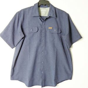Orvis-Mens-XL-Blue-Button-Up-Shirt-Front-Pockets-Short-Sleeve-Vented-Fishing