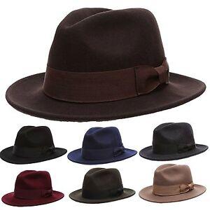 Details about Men s Premium Quality Milano Wool Felt Fedora Flat Brim  Grosgrain Band Hat fe1a2d89f0a