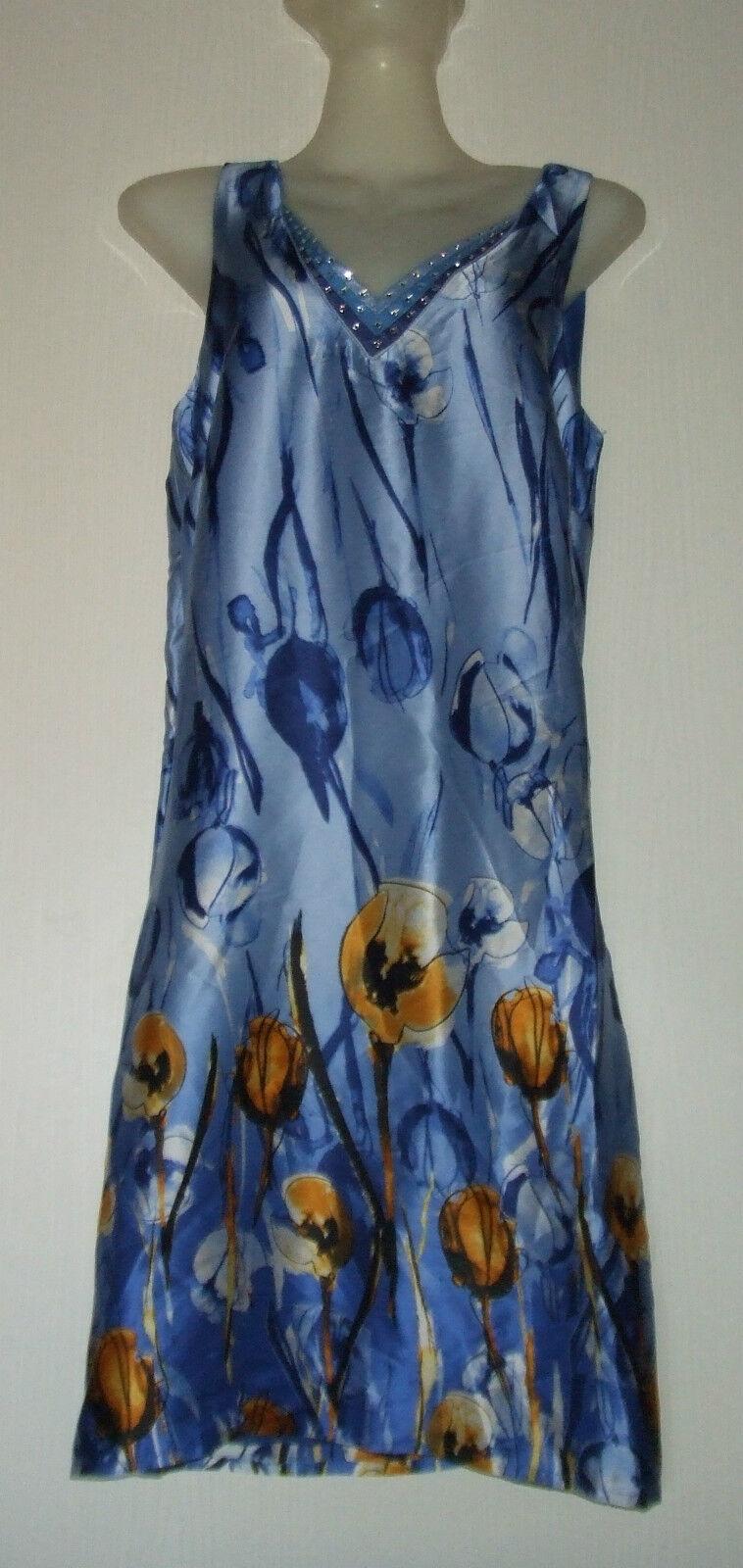 NIZA ROBE FLUIDE SHAINA 100% SOIE NATURELLE size S  (FR36-38) blue