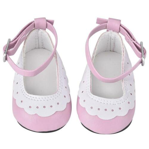 Artificial Leather Flat Shoes with Lace Trim for 18 inch Dolls Baby Kids Gift#K9