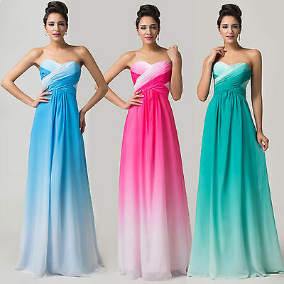 Ombre Long Evening Dress Bridesmaid Party Prom Dress Chiffon Masquerade Dresses