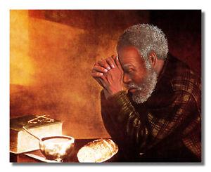 Grace Daily Bread Black Man Praying Handmade Oil Painting