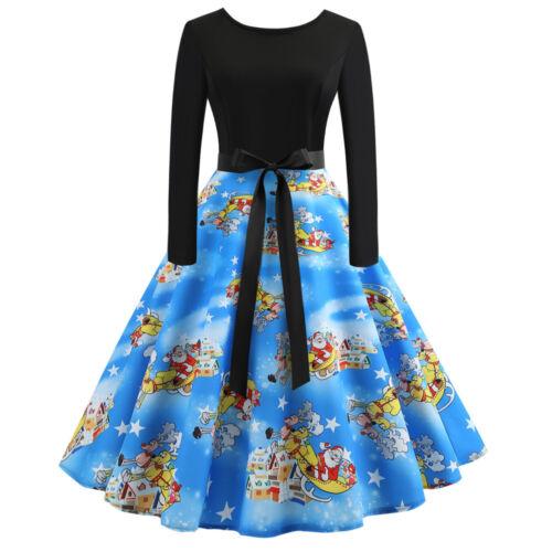 Fashion  Women/'s Vintage Print Long Sleeve Christmas Evening Party Swing Dress