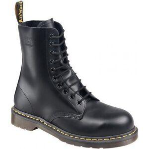 Men s Dr Martens 7A18Z 10-Eyelet Black Leather Steel Toe Safety ... 828a6f599d41