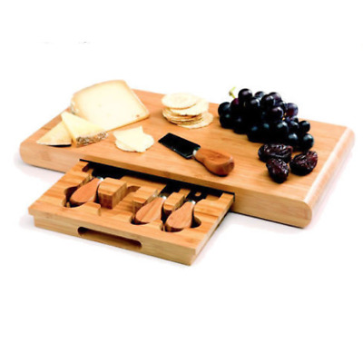 NEW Stanley Rogers Wooden Bamboo Cheese Board Set 5pc Knives Tools