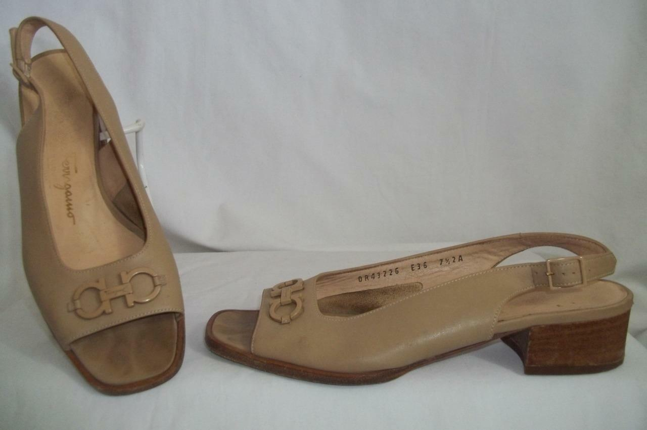 SALVATORE FERRAGAMO Tan Leather Slingback Open Toe Sandals chaussures 7.5 AA