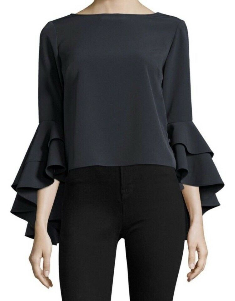 ⭐️MILLY Annie grey top with ruffled sleeves , size 2   small NWT