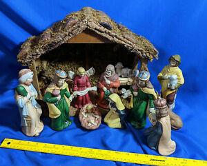 HUGE-15pc-Xmas-Bisque-Porcelain-VTG-Nativity-Set-Scene-Wood-Barn-Baby-Jesus-Mang