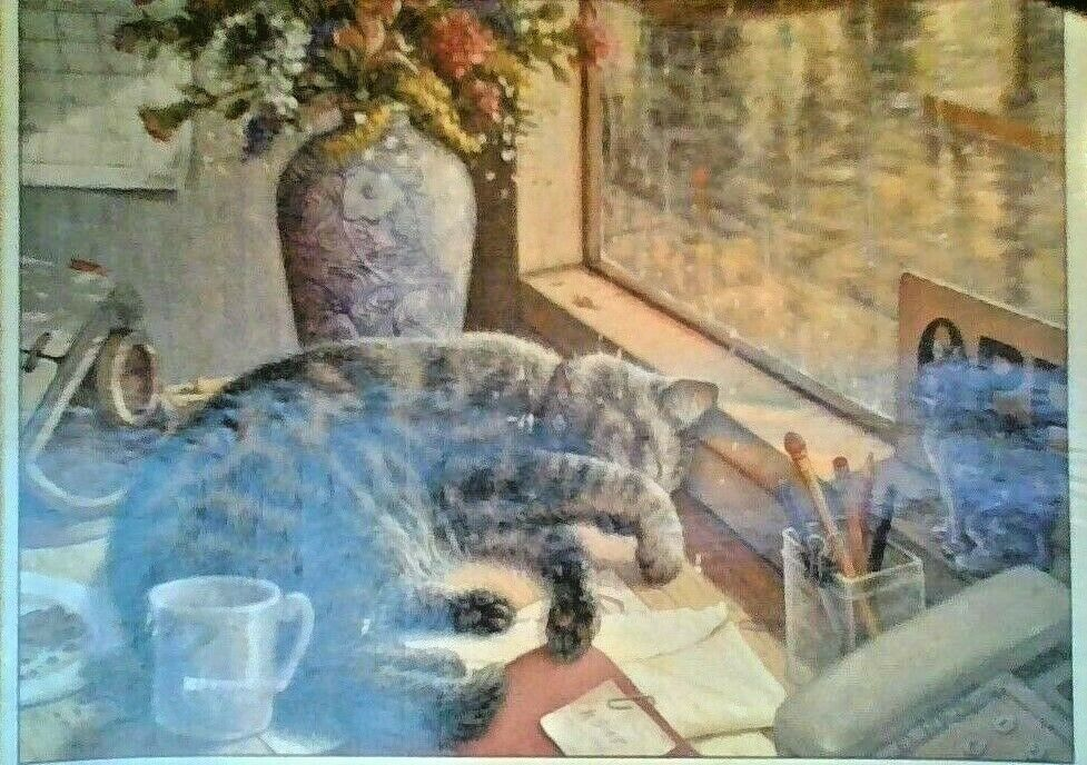 MASTERlavoroS   AFTER HOURS    1000 PIECE PUZZLE - 18  X 26  CAT IN WINDOW  si affrettò a vedere