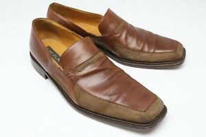 Mezlan Verducci Loafers 15 Brown Waffle Suede Leather Vamp Slip On Shoes Spain
